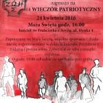 XIV Wieczór Patriotyczny, 24.04.2016 – zaproszenie